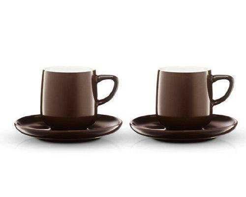 2 TCHIBO Espressotassen m. Untertassen - CONRAN STUDIO - Porzellan - mokkabraun
