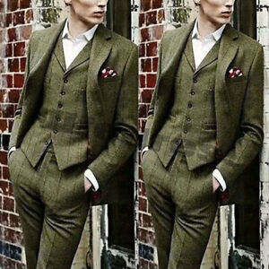 DernièRe Collection De Vert Olive Costume Homme 3 Pieces Turbot De Sable Check Formal Business Groom Suits-afficher Le Titre D'origine