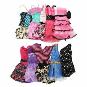 10-Stueck-handgefertigte-Kleider-Kleidung-fuer-Puppen-Geschen-Stil-zufaelliges-N8O5