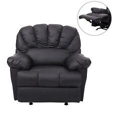 HomCom Leather Rocking Sofa Single Recliner Chair Black Cushion