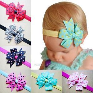 10Pcs Chiffon Elastic Baby Bowknot Headband Dot Head Hair Clip Acessories Lot