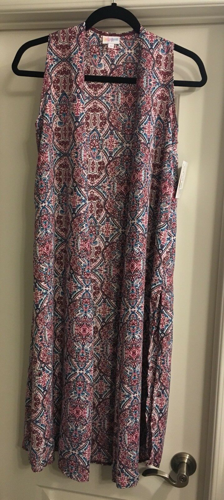LuLaRoe Xs Extra Small Joy Stained Glass Paisley Floral White bluee Pink Burgundy