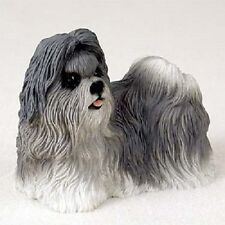 Shih Tzu Dog Hand Painted Figurine Resin Statue Collectible Gray Puppy New