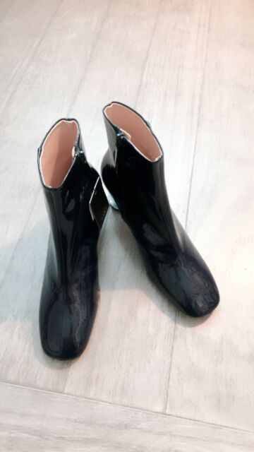 59361496e703 Chic Womens Ankle Boots Side Zipper Patent Leather Block Mid Heels ...