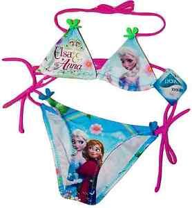 Reine-des-neiges-Maillot-de-bain-bikini-neuf-fille-mignon-Anna-Elsa-bleu-98-140