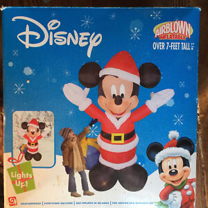 Gemmy Airblown Inflatable Over 7' Tall Disney Mickey Mouse Santa Christmas