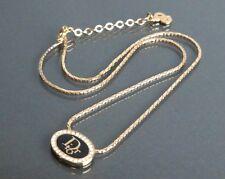 100% Authentic Christian Dior Gold-Tone Rhinestones Motif Necklace Pendant