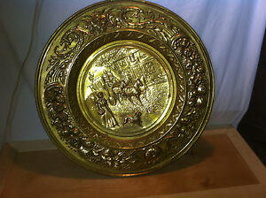 vtg-Brass-Stove-pipe-cover-plate-fire-place-hearth-Architectural-salvage