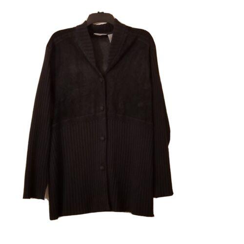 J Jill Cardigan  Wool/suede Leather Blend Woven Lo