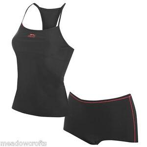 Slazenger Tankini Black Size 8 10 12 14 16 18 20 22 NEW Costume Swimsuit Swim