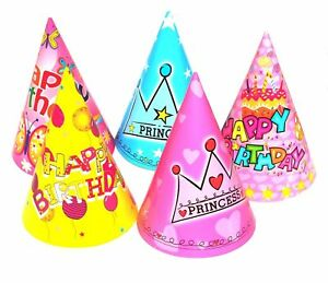 Image Is Loading 10 X Happy Birthday Party Hat Paper Cone