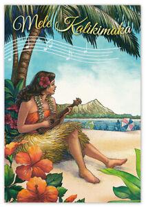 Mele Kalikimaka Christmas Cards.Details About Hawaiian Christmas Cards 10 Pack Vintage Hula Girl Hawaii Mele Kalikimaka Nib