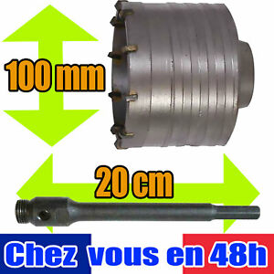 Kit De Forage Beton Trepan Scie Cloche 100 Mm Tige 20 Cm Brique 947605 124518 Ebay