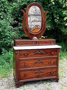 Rosewood Antique Victorian Ornate Dresser Oval Mirror With Marble
