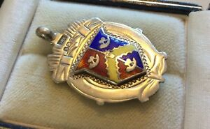 Lovely-Antique-Fully-Hallmarked-Solid-Silver-amp-Enamel-Watch-Fob-Medal-Pendant
