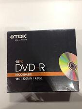 TDK 10PK DVD-R 4.7GB DVD REGISTRABILE-PREZZO SINGOLO CD