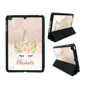 Personalised-Name-Printed-Glitter-and-Marble-Theme-Unicorn-charming-iPad-Cover