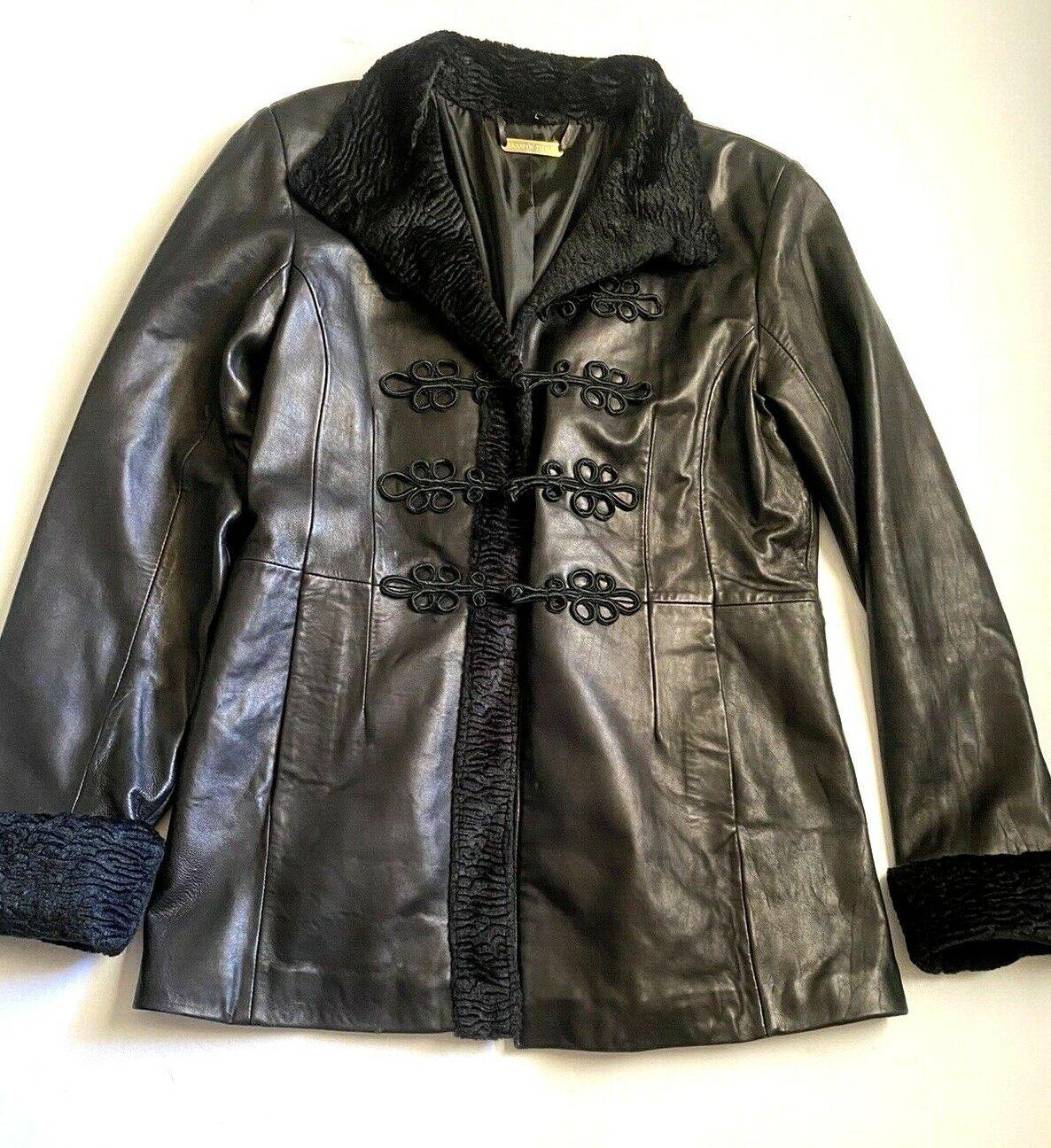 Brandon Thomas Leather Jacket Blazer Black Floral Detail women Size Large