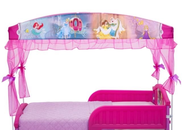 Disney Princess Plastic Toddler Bed With Canopy Guardrails Kids