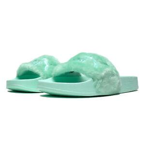 0cfb3353e2fca6 NIB WOMEN Puma Fenty Rihanna FUR Slide Sandals BAY PUMA SILVER ...