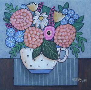 Tea-Cup-Blooms-12-x-12-ORIGINAL-PAINTING-Folk-ART-Flowers-PRIM-Karla-Gerard