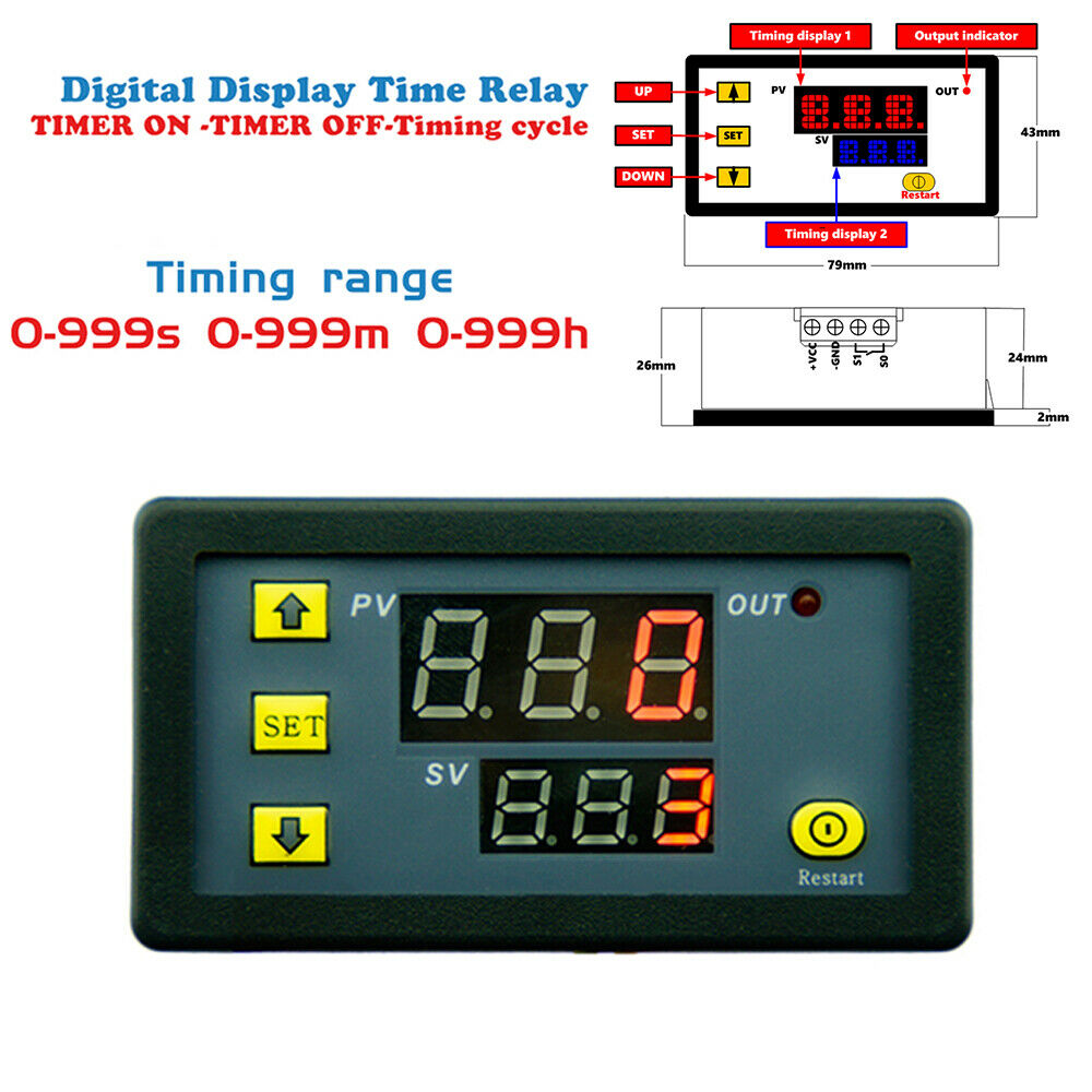 5Pcs Dual LED Display 110V 10A Cycle Timer Delay Relay Module Timing 0-999s//m//h