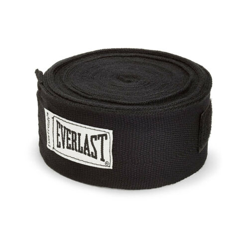 Everlast 120 Inch Polyester Cotton Boxing Sparring Training Hand Wraps Black