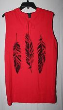 NEW WOMENS PLUS SIZE 3X BRIGHT RED TRIBAL FEATHER TANK TOP SLEEVELESS HOODIE