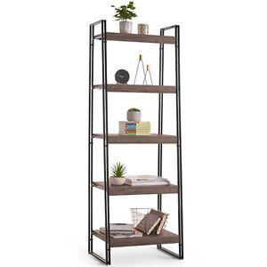 VonHaus-Rustic-5-Tier-Shelving-Unit-Wooden-Effect-Bookshelf-Ladder-Bookcase