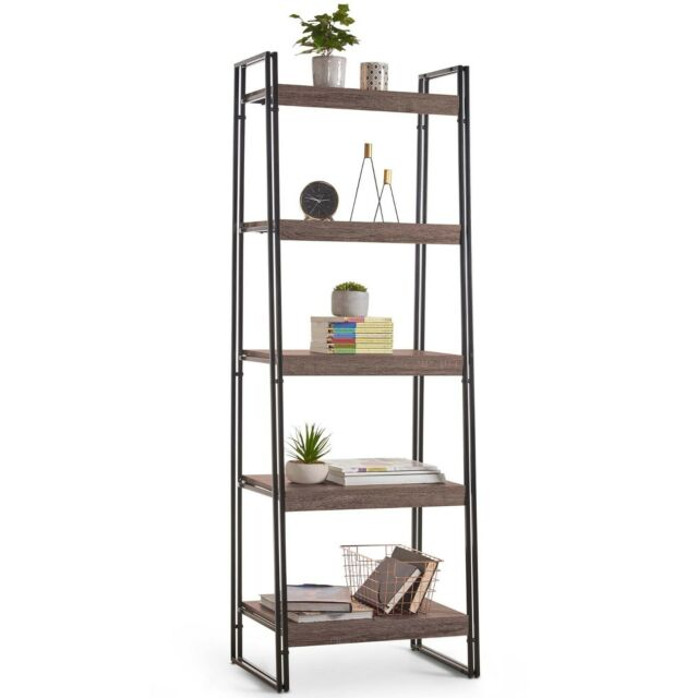 VonHaus Rustic 5-Tier Shelving Unit - Wooden Effect Bookshelf Ladder Bookcase