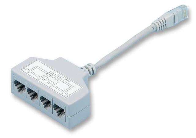 cat5e 4 way ethernet cable splitter rj45 male to 4x rj11. Black Bedroom Furniture Sets. Home Design Ideas