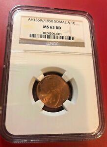 Somalia-Copper-AH1369-1950-1-Centesimo-NGC-MS63-RD-African-Elephant