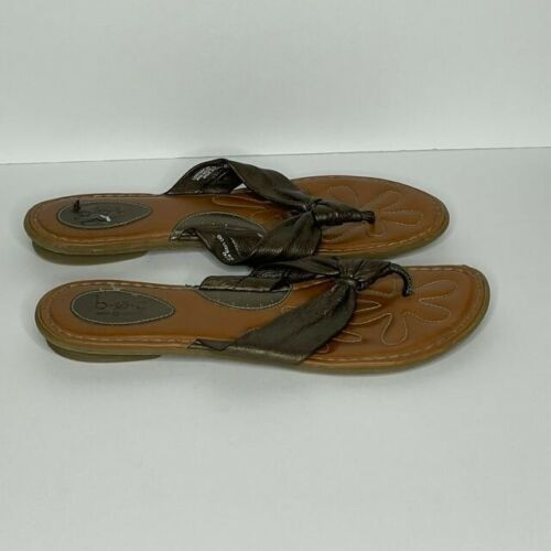 Born Brown Leather Thong Sandals