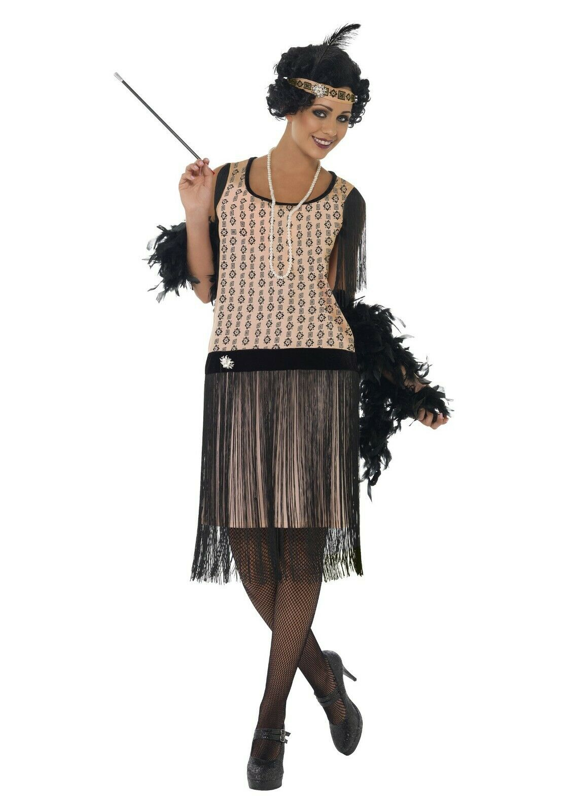 WOMEN\'S PLUS SIZE 1920S COCO FLAPPER COSTUME SIZE 2X (missing brooch)