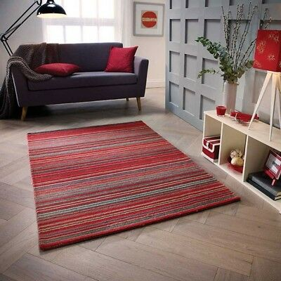 Hand Loomed Striped Wool Rug 120x170cm