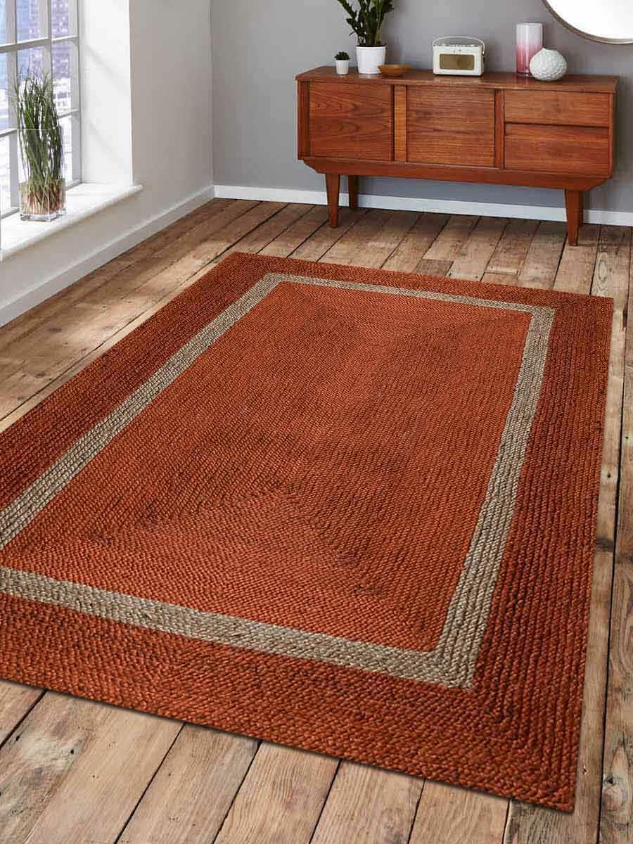 Hand Woven Jute 5x8 Carpet Border Farmhouse Solid Oriental Orange 8x10 Area Rug