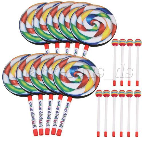 10PCS Color Plastic Kids Lollypop Drum 200mm Diameter Orff Musical Tool