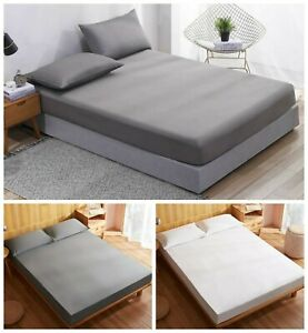 100-Egyptian-Cotton-Fitted-Sheets-Single-Double-King-400-500-600-thread-Count