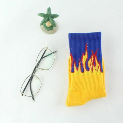 Men Hip Hop Fire Crew Sock Flame Blaze Power Torch Hot  Streets Cotton Socks
