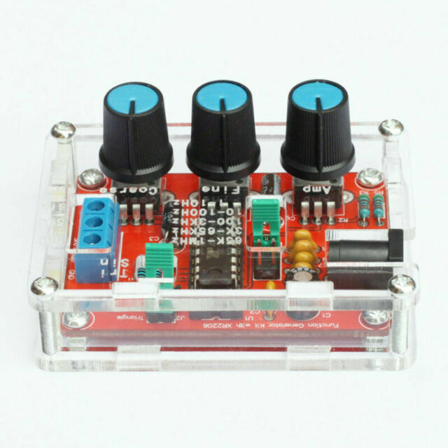 XR2206 Function Signal Generator DIY Kit Sine Output 1HZ-1MHZ + acrylic case
