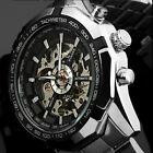 Luxury Mens Mechanical Watch Skeleton Analog Stainless Steel Sport Wrist Watches
