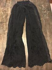 Da-Nang black wide leg Embroidered pants Hippie Regae Peasant 39 inch inseam S