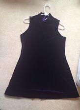 purple velvet mock neck turtle short dress mini Sz L Rave 90s cyber punk party
