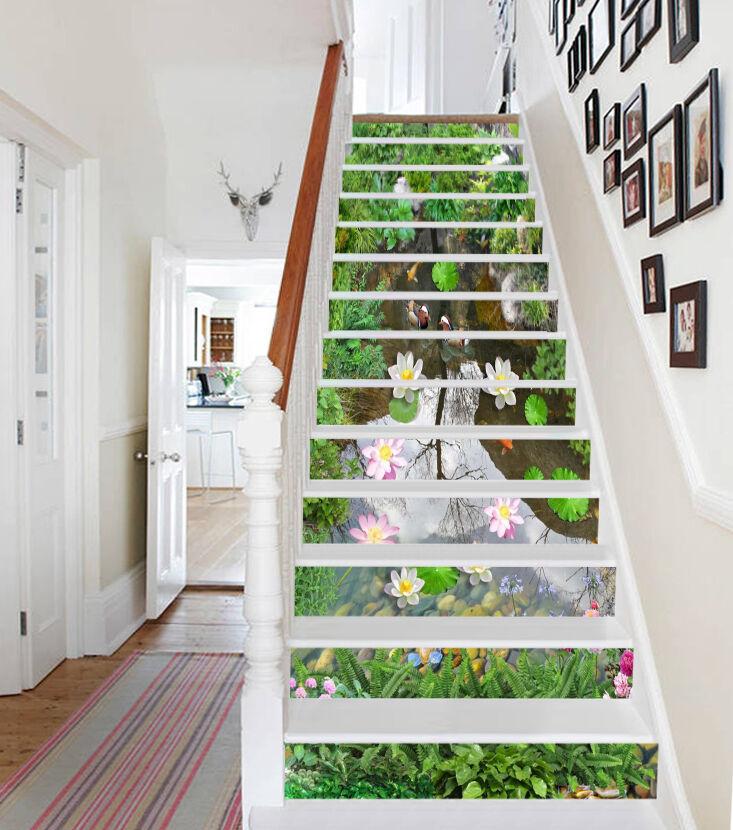 3D Lotus Teich 7346 Stair Risers Dekoration Fototapete Vinyl Aufkleber Tapete DE