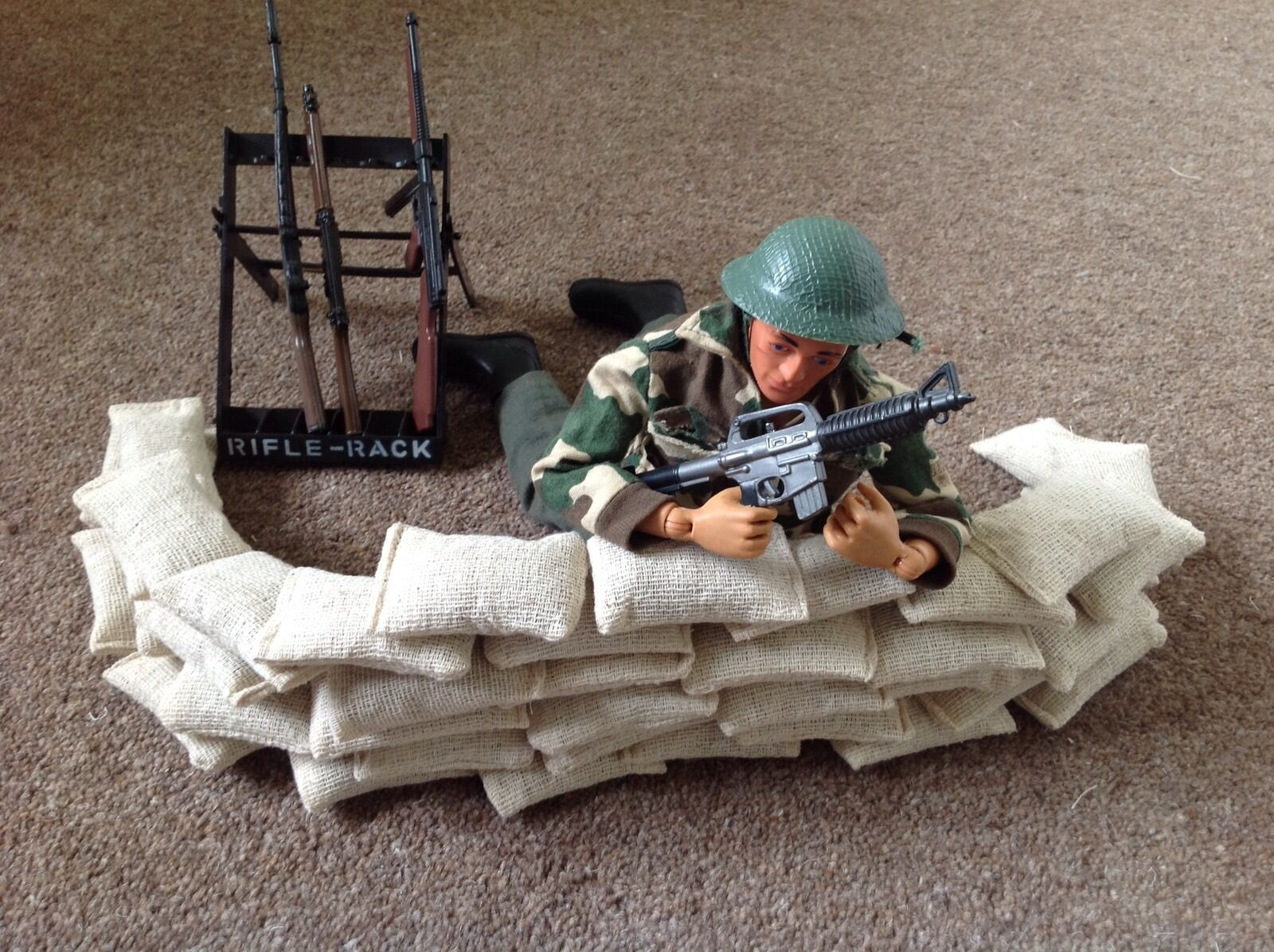 Set of 40 Handmade 1 6 Scale Toy Soldier Sand Bags Action Figure