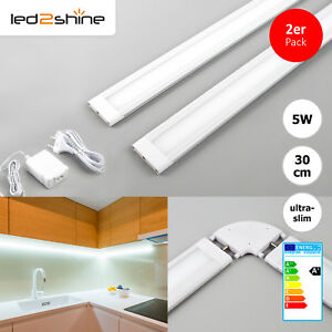 set 2x led lichtleiste k che warmwei 5w 30cm m bel unterbau 90 eckverbindung ebay. Black Bedroom Furniture Sets. Home Design Ideas