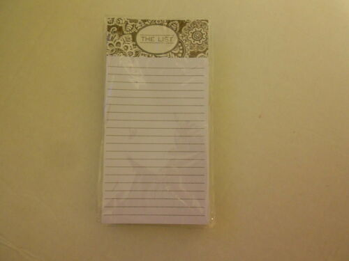 FANCY FLOWERS THE LIST Browns /& White new 80 sheet Magnetic Note Pad