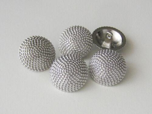 Ösen Metallknöpfe mit feinem Kugel Ketten Relief 1298gs 5 glänzend silberfarb