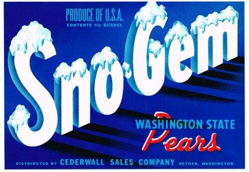 ORIGINAL PEAR CRATE LABEL DRYDEN WASHINGTON SNO-GEM SCARCE GLOSSY TYPOGRAPHY