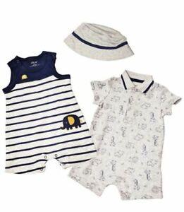 8c0866daa8d NEW Little Me Boys 3 Piece Navy   Gray Romper   Hat Set